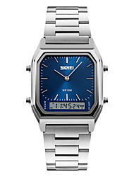 cheap -SKMEI Men's Wrist Watch Quartz Digital Stainless Steel Silver 30 m Water Resistant / Waterproof Alarm Calendar / date / day Analog - Digital Vintage Gunmetal Watch - Silver Blue Rose Gold Two Years