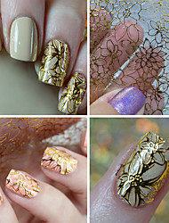 cheap -1 sheet embossed 3d nail stickers blooming flower 3d nail art stickers decals