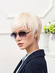 Недорогие -Человеческие волосы Парик Короткие Естественный прямой Стрижка под мальчика Короткие Прически 2020 Прямой силуэт Короткие Боковая часть С Bangs Жен. Белый Бежевый Blonde / Bleached Blonde