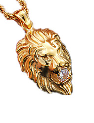 cheap -Crystal Pendant Necklace Dookie Chain Lion Animal Ladies Fashion Stainless Steel Titanium Steel Imitation Diamond Silver Golden Necklace Jewelry For Party Daily Casual Sports