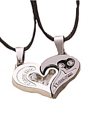 cheap -Pendant Necklace Heart Love Leather Titanium Steel Silver / Black Necklace Jewelry 2pcs For Christmas Gifts Wedding Party Daily Masquerade Engagement Party