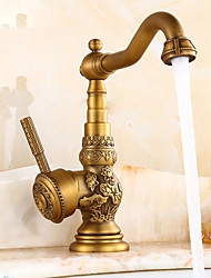 abordables -Robinet lavabo - Standard Laiton Antique Set de centre Mitigeur un trouBath Taps