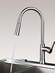 cheap -Kitchen faucet - Single Handle One Hole Nickel Brushed Pull-out / Pull-down / Tall / High Arc Centerset Contemporary / Modern Kitchen Taps / Brass