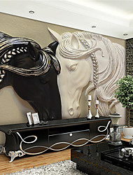 cheap -Mural Wallpaper Wall Sticker Covering Print Adhesive Required 3D Relief Effect Horse Canvas Home Décor