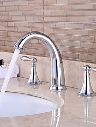 cheap -Bathroom Sink Faucet - Waterfall Chrome Widespread Two Handles Three Holes