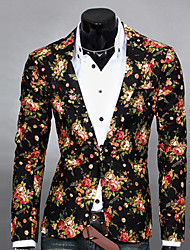 cheap -Men's Daily Spring / Fall Regular Blazer, Floral Notch Lapel Long Sleeve Polyester Print Black / White / Gray / Slim