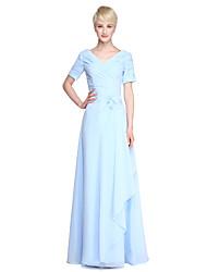 cheap -Sheath / Column V Neck Floor Length Chiffon Bridesmaid Dress with Criss Cross / Ruched / Side Draping