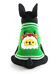 cheap -Dog Sweater Winter Dog Clothes Green Costume Acrylic Fibers Animal Keep Warm Fashion Christmas XXS XS S M L