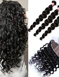 cheap -3 Bundles with Closure Peruvian Hair Loose Wave Human Hair Hair Weft with Closure 10-30 inch Human Hair Weaves 6a Human Hair Extensions