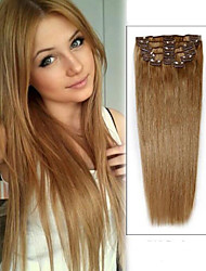 cheap -Clip In Human Hair Extensions Straight Human Hair Light Brown / Bleach Blonde