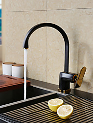 cheap -Kitchen faucet - Single Handle One Hole Painted Finishes Standard Spout Centerset Contemporary Kitchen Taps / Brass