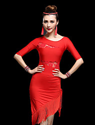 cheap -Latin Dance Dresses Women's Performance Milk Fiber Lace / Tassel Half Sleeve High Dress / Shorts