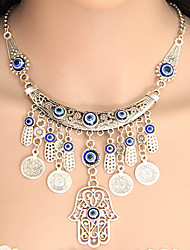 cheap -Women's Pendant Necklace Statement Necklace Tassel Coin Ladies Tassel European Fashion Alloy Silver Hamsa Hand Necklace Jewelry For Party