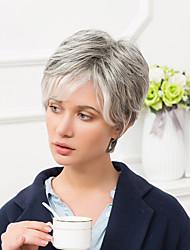 Недорогие -Человеческие волосы Парик Короткие Прямой Стрижка под мальчика Короткие Прически 2020 С чёлкой Прямой силуэт Омбре Боковая часть Жен. Серый