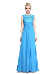 cheap -Sheath / Column Jewel Neck Floor Length Chiffon / Lace Bridesmaid Dress with Side Draping / Criss Cross / Pleats / See Through