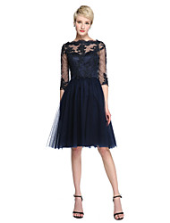 cheap -A-Line Bateau Neck Knee Length Lace / Tulle Bridesmaid Dress with Appliques / Illusion Sleeve / See Through