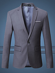 cheap -Men's Daily / Going out Street chic Spring / Fall Plus Size Regular Blazer, Solid Colored Notch Lapel Long Sleeve Cotton Blue / Wine / Light gray / Slim