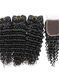 cheap -7a indian human virgin hair deep wave 4 4 lace closure with 3 bundles hair weft
