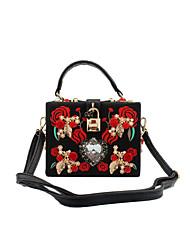 cheap -Women's Bags PU(Polyurethane) / Metal Evening Bag Crystal / Rhinestone / Flower Artwork Black