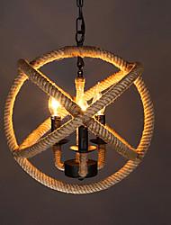 abordables -Luminaire suspendu à 3 ampoules en corde de chanvre, lumière ambiante, autres lampes à DEL en métal, ampoules 110-120v / 220-240v blanc chaud non incluses