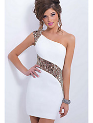 cheap -Women's Sequins Party Daily Club Mini Slim Bodycon Sheath Dress - Solid Colored White, Lace One Shoulder Spring White XXL