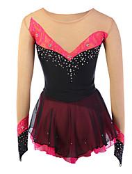 cheap -Figure Skating Dress Girls' Ice Skating Dress Red black Elastane Competition Skating Wear Handmade Fashion Long Sleeve Ice Skating Figure Skating
