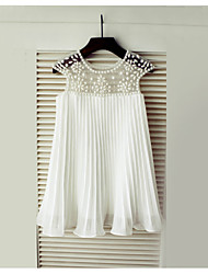 cheap -A-Line Knee Length Flower Girl Dress - Chiffon Short Sleeve Scoop Neck with Beading / Draping / First Communion