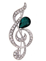 cheap -Women's Crystal Brooches Music Music Notes Fashion Imitation Diamond Brooch Jewelry Dark Green For Daily