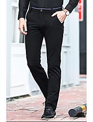 abordables -Homme Basique Travail Mince Droite Pantalon - Couleur Pleine Coton Noir Vin Bleu Roi 34 36 38