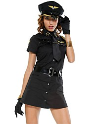 cheap -Police Career Costumes Cosplay Costume Party Costume Women's Police Uniforms Halloween Carnival Festival / Holiday Terylene Black / White Women's Carnival Costumes Solid Colored / Hat