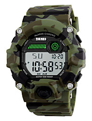 cheap -SKMEI Men's Sport Watch Military Watch Wrist Watch Digital Water Resistant / Waterproof Digital Camouflage Green / Quilted PU Leather / Two Years / Alarm / Calendar / date / day / Chronograph