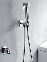 cheap -Shower Faucet - Contemporary / Modern Chrome Handheld bidet Sprayer Brass Valve Bath Shower Mixer Taps / Single Handle Two Holes