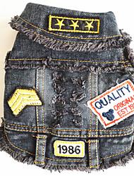 cheap -Dog Denim Jacket / Jeans Jacket Dog Clothes Jeans Black Denim Costume For Spring &  Fall Winter Men's Women's Cowboy Fashion
