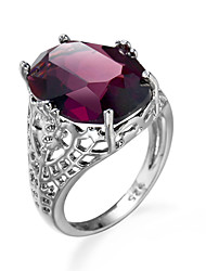 cheap -Women's Ring AAA Cubic Zirconia Amethyst Red Zircon Cubic Zirconia Alloy European Simple Style Fashion Wedding Engagement Jewelry Simulated Cocktail Ring