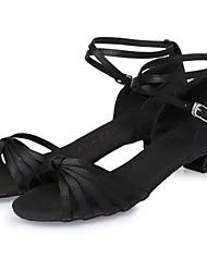 cheap -Dance Shoes Latin Shoes Heel Ribbon Tie Chunky Heel Dark Brown Nude Black Buckle Kid's / Indoor / Silk / Leather / EU39