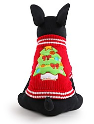 cheap -Dog Sweater Winter Dog Clothes Red Costume Acrylic Fibers Floral Botanical Keep Warm Fashion Christmas XXS XS S M L