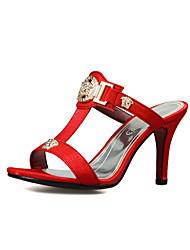 cheap -Women's Slippers & Flip-Flops Stiletto Heel Open Toe PU Comfort / Slingback Walking Shoes Summer Black / Red / Beige / Party & Evening / Party & Evening