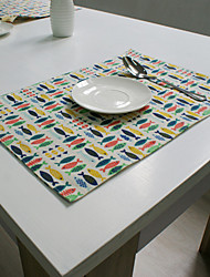 cheap -Rectangular Print Placemat , Cotton Blend Material Hotel Dining Table Table Decoration