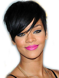 cheap -Human Hair Blend Wig Straight Classic Bob Short Hairstyles 2020 With Bangs with Baby Hair Rihanna Classic Straight Natural Natural Hairline Machine Made Women's Natural Black #1B 6 inch Daily