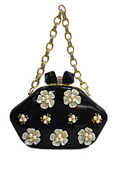 cheap -Women's Bags Patent Leather Evening Bag Pearl Imitation Pearl Crystal / Rhinestone Flower for Wedding / Event / Party / Formal Black / Red / Royal Blue