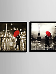 cheap -Framed Canvas Framed Set People Architecture Wall Art, PVC Material With Frame Home Decoration Frame Art Living Room Bedroom Kitchen