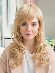 cheap -elegant partial bangs prevailing long curly hair glamorous human hair wig