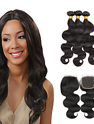 cheap -3 Bundles with Closure Brazilian Hair Body Wave Virgin Human Hair Natural Color Hair Weaves / Hair Bulk Hair Weft with Closure 8-28 inch Natural Black Human Hair Weaves 7a Shedding Free Tangle Free