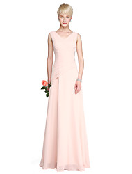 cheap -Sheath / Column V Neck Floor Length Georgette Bridesmaid Dress with Crystals / Side Draping by LAN TING BRIDE®
