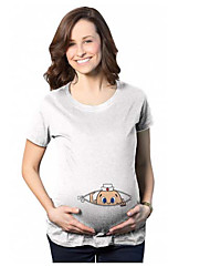 cheap -Women's Daily Casual Maternity Cotton T-shirt - Solid Colored Print White