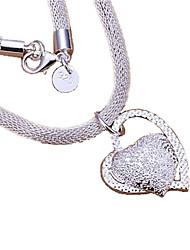 Недорогие -Жен. Ожерелья с подвесками Заявление ожерелья faceter Сердце Любовь Дамы Стерлинговое серебро Серебряный Ожерелье Бижутерия Назначение Спасибо Валентин