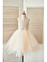 cheap -A-Line Knee Length Pageant Flower Girl Dresses - Lace / Tulle Sleeveless Scoop Neck with Sash / Ribbon