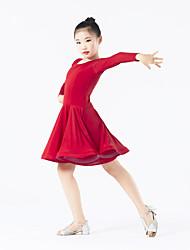 cheap -Latin Dance Dresses Performance Polyester / Spandex Ruffles Long Sleeve Natural Dress
