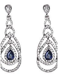 cheap -Women's Sapphire Drop Earrings Hanging Earrings Pear Cut Drop Elizabeth Locke Crystal Earrings Jewelry Royal Blue For Wedding Party Daily