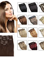 cheap -Febay Clip In Human Hair Extensions Straight Human Hair Human Hair Extensions Women's Medium Brown / Bleach Blonde